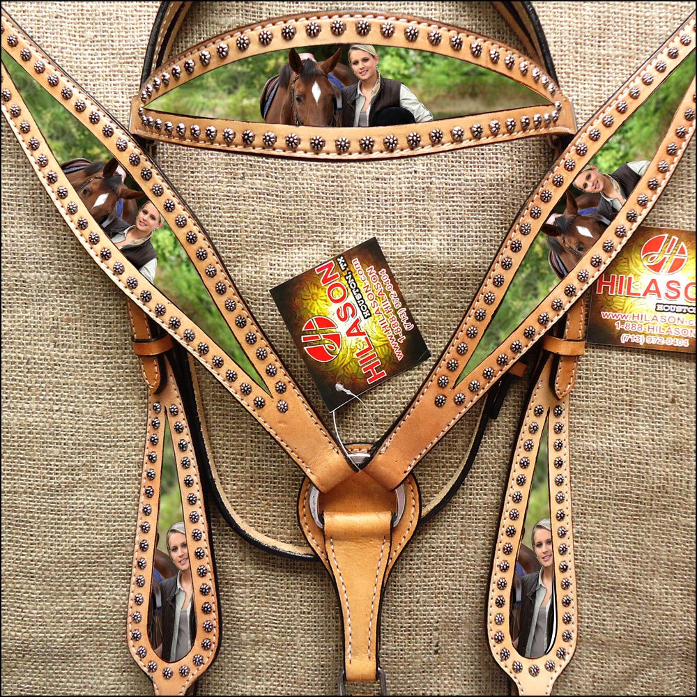 HILASON WESTERN LEATHER HORSE HEADSTALL BREAST COLLAR PAINTED PORTRAIT TAN