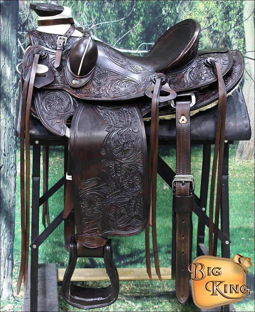 "WD013CHO-15"""" HILASON BIG KING WESTERN WADE RANCH ROPING LEATHER HORSE SADDLE"