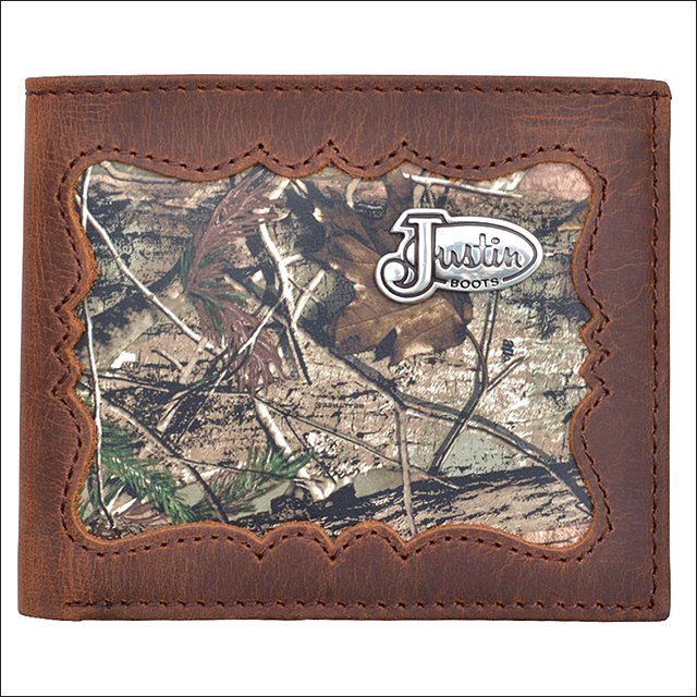 JUSTIN BROWN DISTRESSED CAMO LEATHER SHELL INLAY WESTERN BIFOLD MENS WALLET
