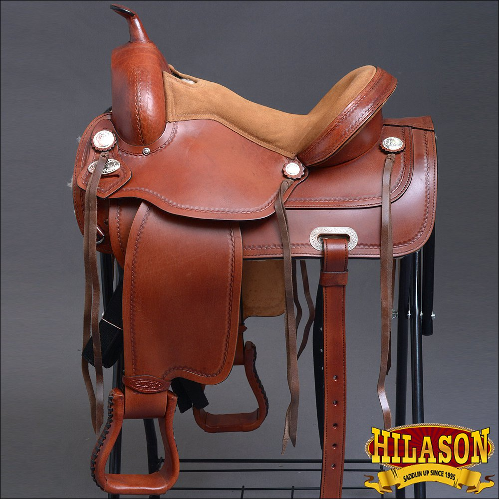 TO110-F HILASON TREELESS WESTERN LEATHER TRAIL PLEASURE HORSE RIDING SADDLE 15""