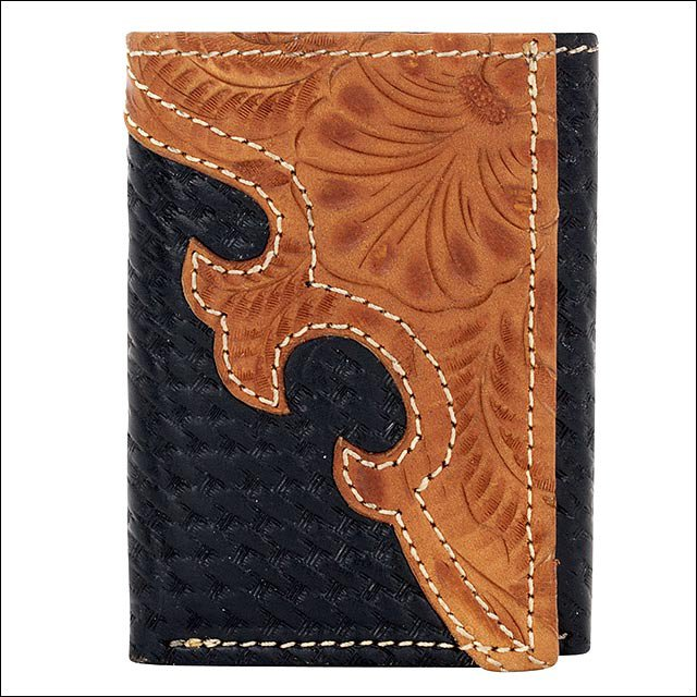 AMERICAN WEST BLACK GOLDEN TAN LEATHER MEN TRI-FOLD WALLET 7 CARD SLOTS