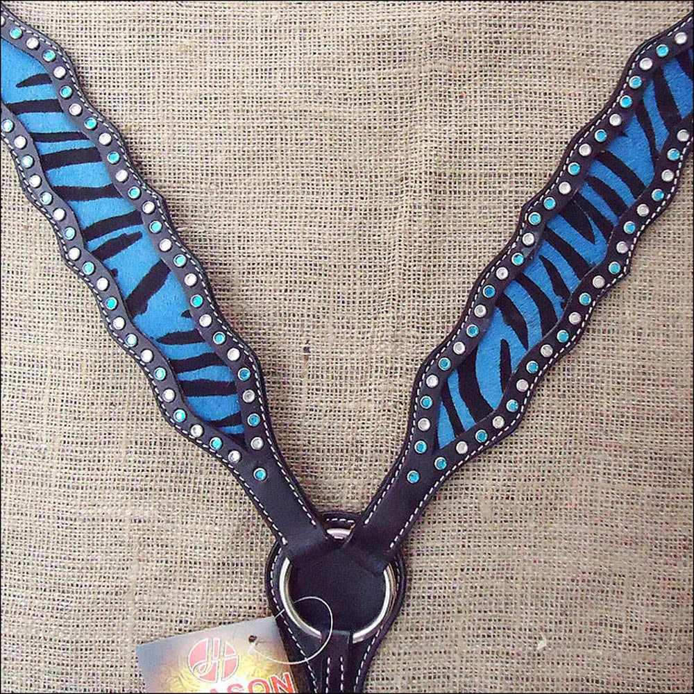 S526 HILASON WESTERN HORSE BREAST COLLAR W/ TURQUOISE ZEBRA LEATHER INLAY
