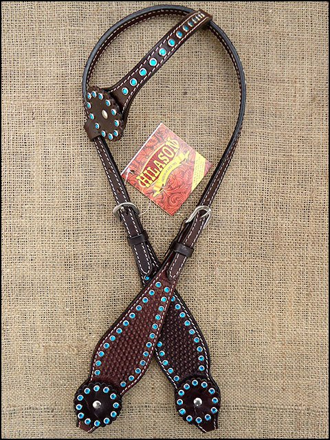 HILASON WESTERN LEATHER HORSE BRIDLE HEADSTALL DARK BROWN TURQUOISE CRYSTALS