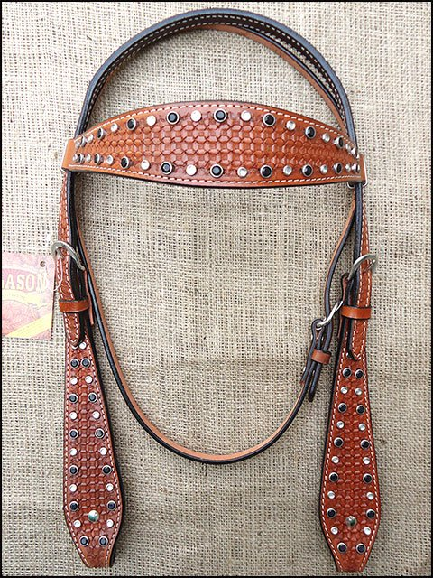 S257 HILASON WESTERN LEATHER HORSE BRIDLE HEADSTALL DARK OIL W/ RHINESTONES