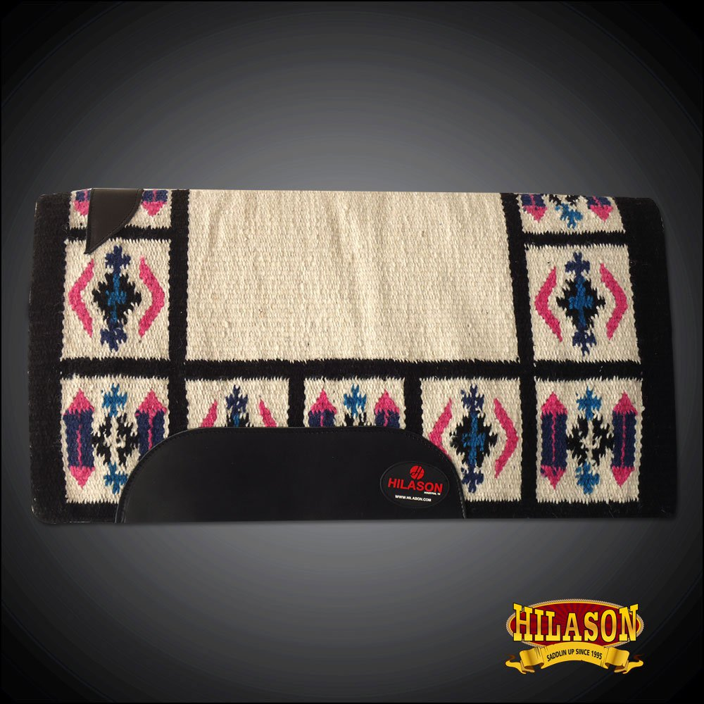 FE339-F HILASON WESTERN NEW ZEALAND WOOL SADDLE BLANKET OFF WHITE PINK