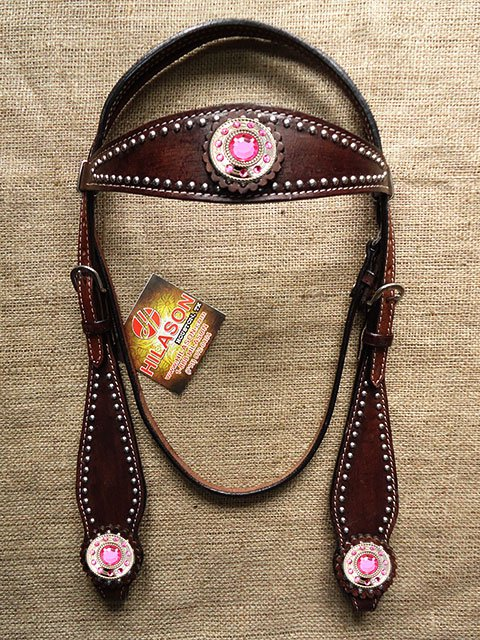 HILASON WESTERN LEATHER HORSE BRIDLE HEADSTALL BROWN PINK WHEEL CONCHO
