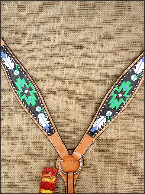 HILASON WESTERN LEATHER HORSE BREAST COLLAR HAND PAINT BLACK GREEN