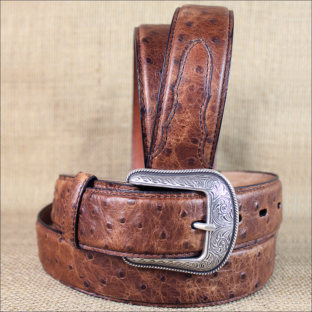 "34X1 1/2"" 3D BROWN MENS DRESS OSTRICH PRINT LEATHER BELT REMOVABLE SILVER BUCKLE"