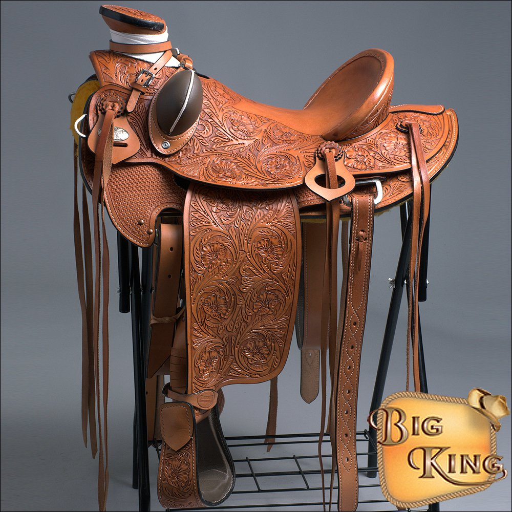 WD005OLWST-F HILASON BIG KING WESTERN WADE RANCH ROPING COWBOY TRAIL SADDLE 16