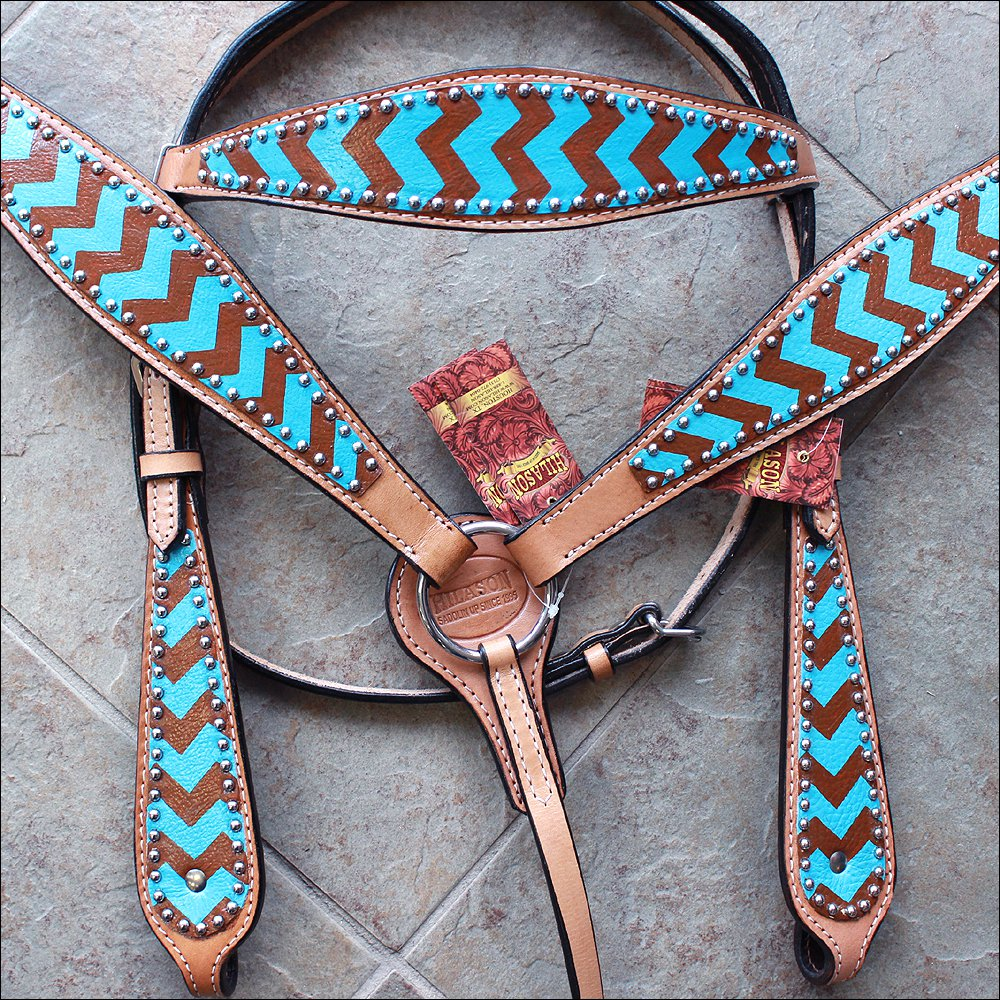 HILASON WESTERN LEATHER HORSE BRIDLE HEADSTALL BREAST COLLAR TURQUOISE BROWN