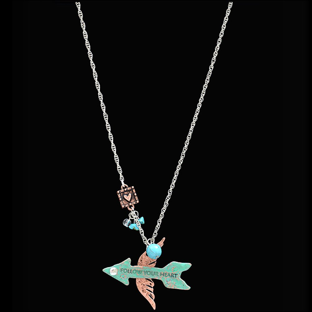 3D JUSTIN SILVER TONE FOLLOW YOUR HEART ARROW ANGEL WING WOMAN LADIES NECKLACE