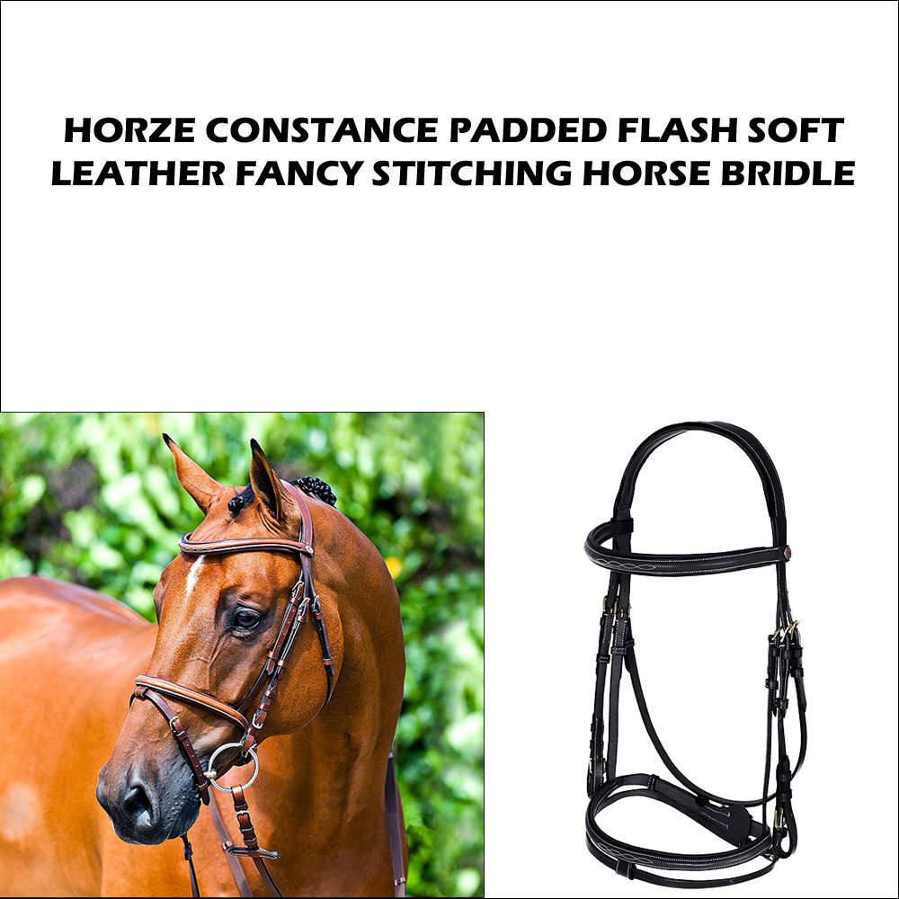 HORZE STITCH LEATHER CONSTANCE PADDED FLASH BRIDLE PADDED HORSE REINS