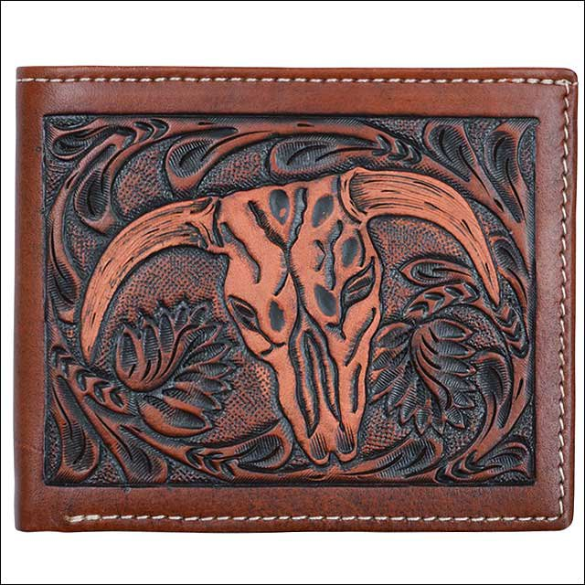 """4 1/2"""" x 3 3/4"""" 3D TAN WESTERN HAND TOOLED LEATHER MENS BIFOLD WALLET STEER HEAD"""