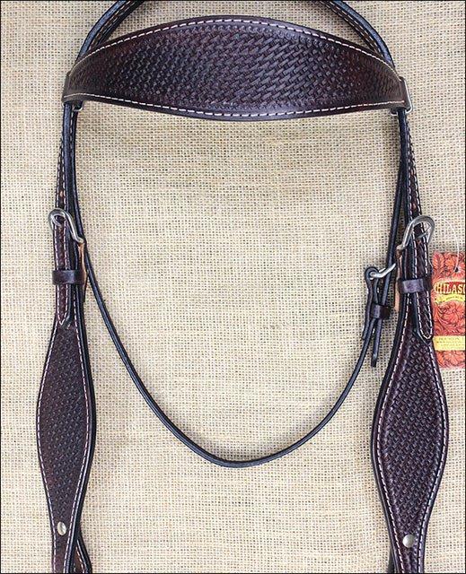 HILASON WESTERN LEATHER HORSE BRIDLE HEADSTALL DARK BROWN BASKET WEAVE