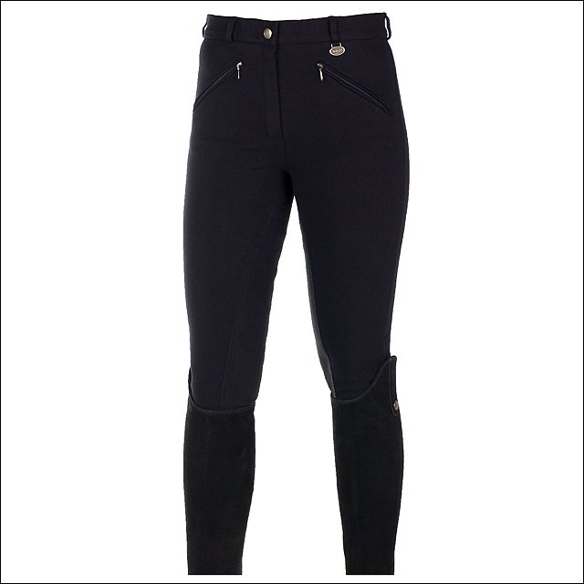 """28"""" HORZE ACTIVE WOMENS COTTON ELASTIC LEATHER FULL SEAT RIDING BREECHES BLACK"""