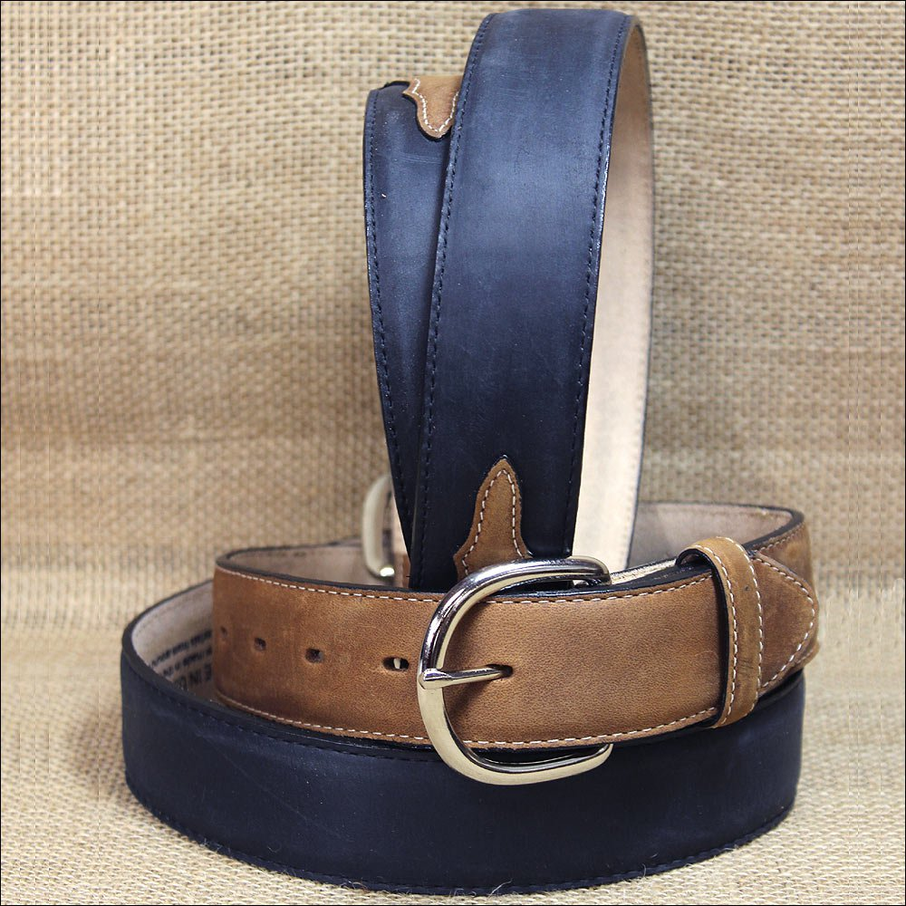 "44"" SILVER CREEK CLASSIC WESTERN BLACK W/BROWN LEATHER TRIM MEN BELT 1-3/8"" Wide"