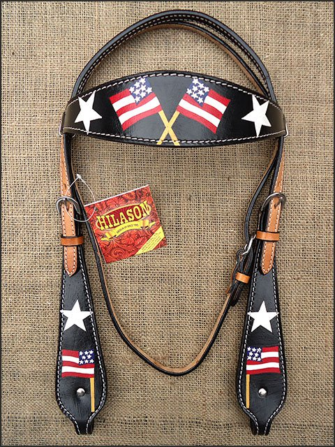 S482 4HILASON WESTERN LEATHER HORSE BRIDLE HEADSTALL BLACK HAND PAINT US FLAG