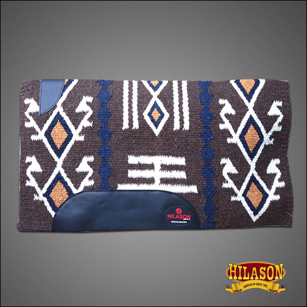 FEDP218 HILASON SHOW NEW ZEALAND WOOL SADDLE BLANKET WESTERN BROWN WHITE