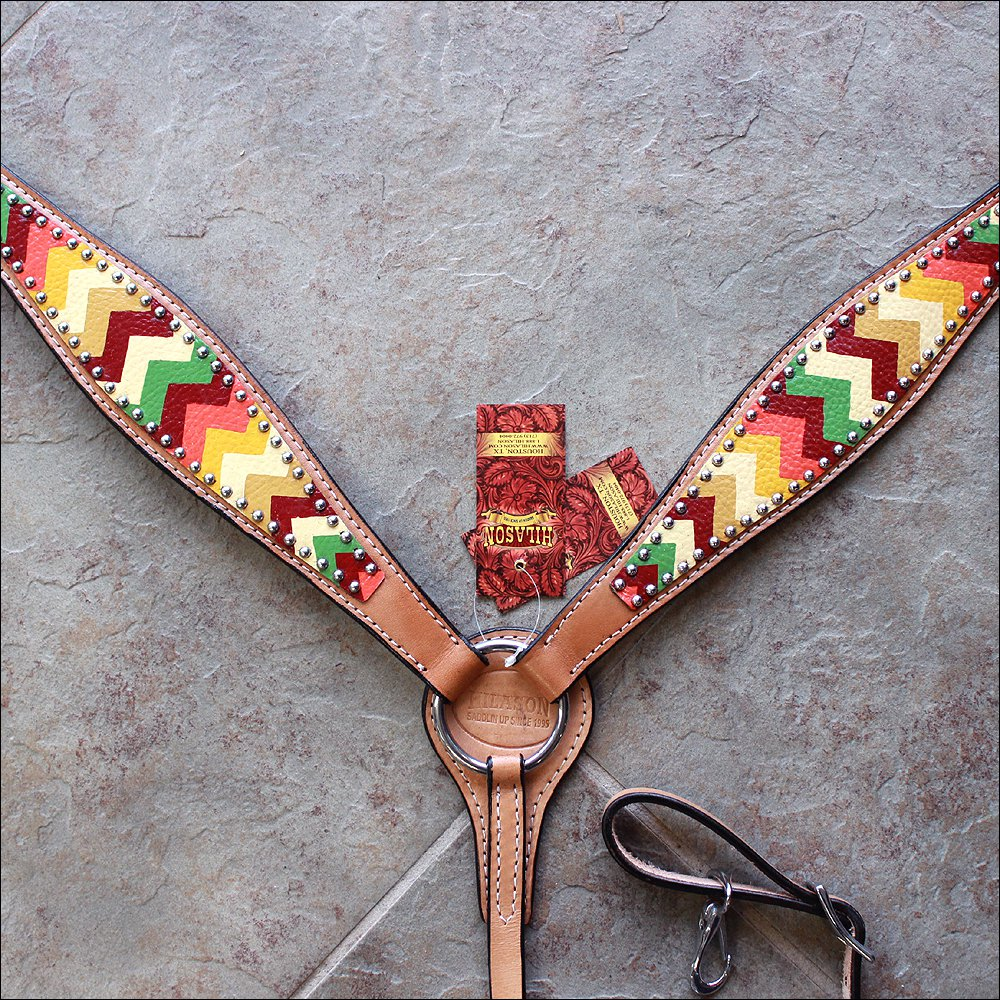 HILASON WESTERN LEATHER HORSE BREAST COLLAR AZTEC HAND PAINT