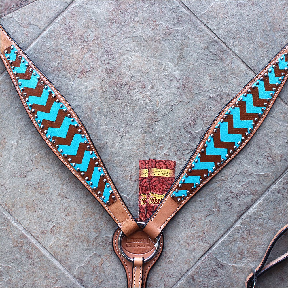 HILASON WESTERN LEATHER HORSE BREAST COLLAR TURQUOISE BROWN HAND PAINT