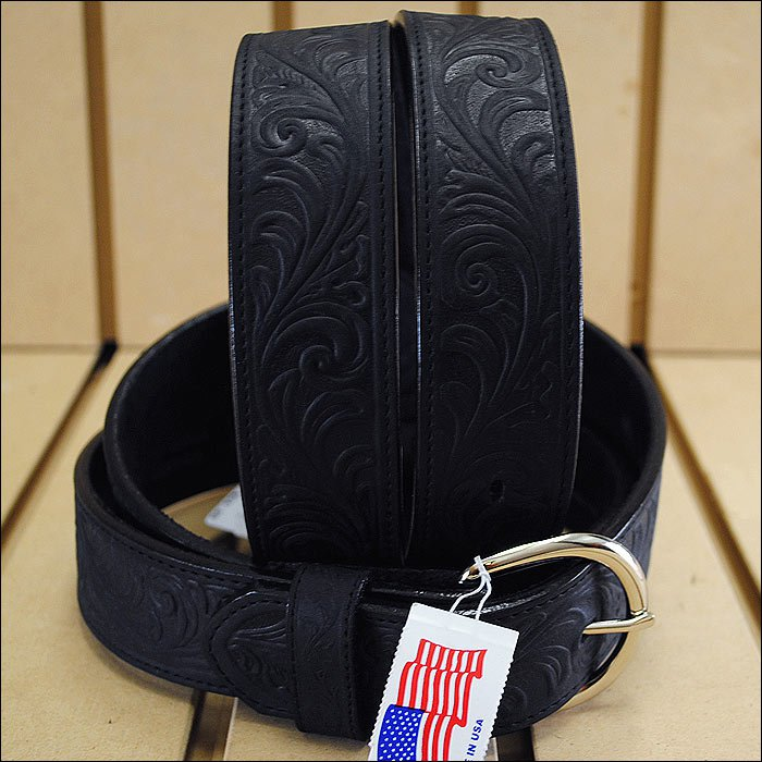 28 inch SILVER CREEK WESTERN SCROLL TOOL LEATHER MANS BELT BLACK MADE IN THE USA