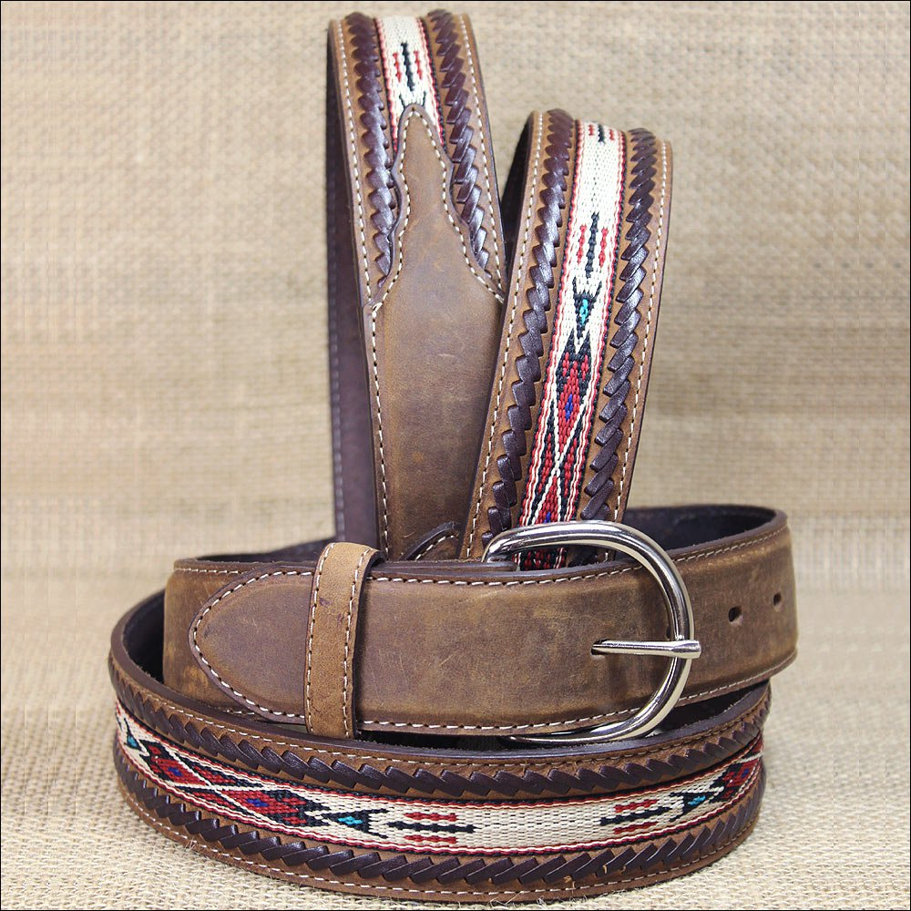 "38"" SILVER CREEK BROWN LEATHER LACED EDGE HORSE HAIR RIBBON MEN BELT"