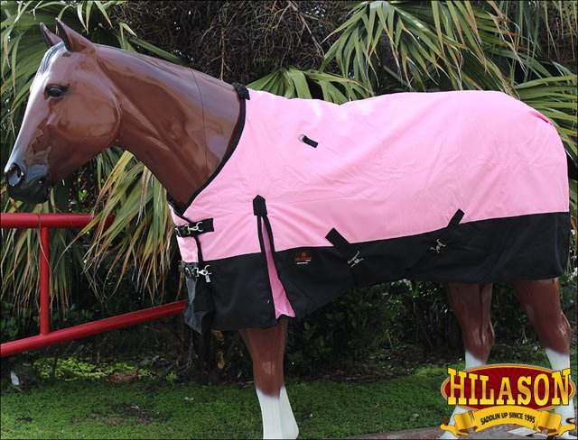 "69"" HILASON 1200D WINTER WATERPROOF 400GSM POLY TURNOUT HORSE BLANKET PINK"