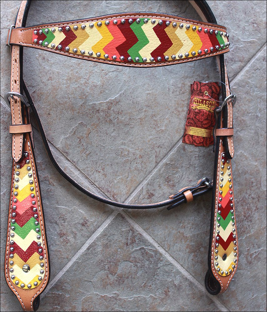 HILASON WESTERN LEATHER HORSE BRIDLE HEADSTALL AZTEC HAND PAINT
