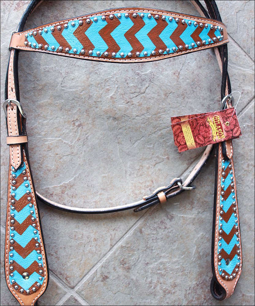 HILASON WESTERN LEATHER HORSE BRIDLE HEADSTALL TURQUOISE BROWN HAND PAINT