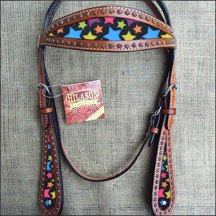 HILASON WESTERN LEATHER HORSE BRIDLE HEADSTALL MAHOGANY W/ STAR INLAY