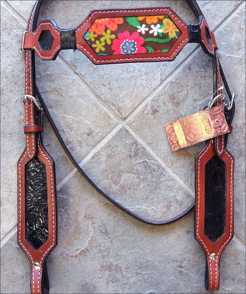 HILASON WESTERN LEATHER HORSE BRIDLE HEADSTALL MAHOGANY W/ FLORAL INLAY