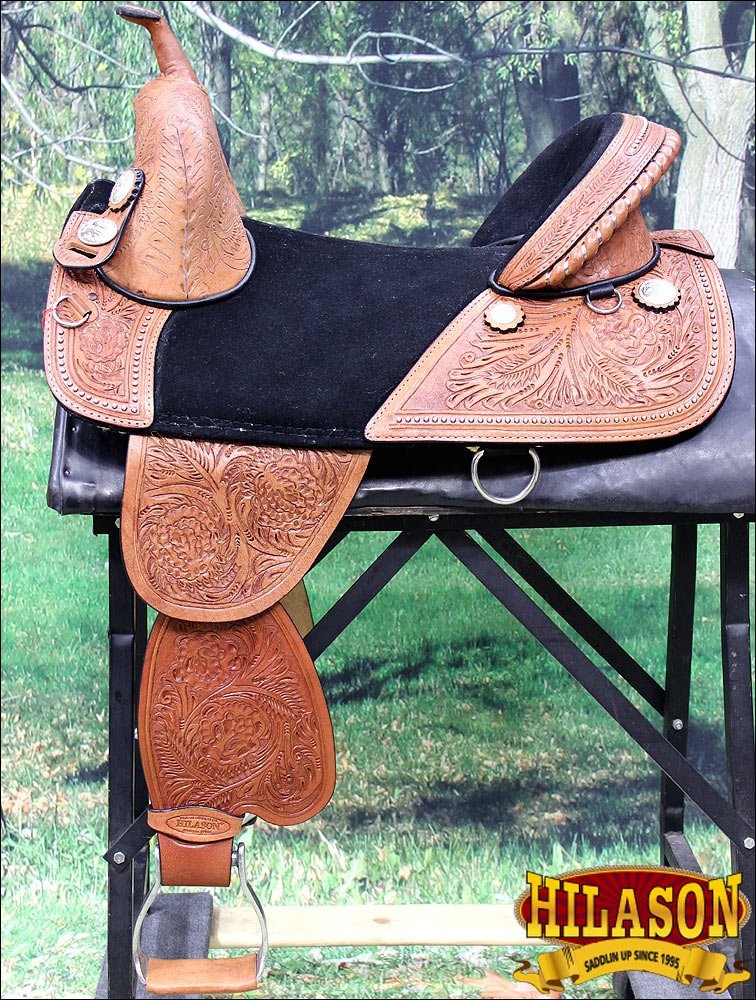 TW101M-F HILASON TREELESS WESTERN TRAIL BARREL RACING LEATHER HORSE SADDLE 14""