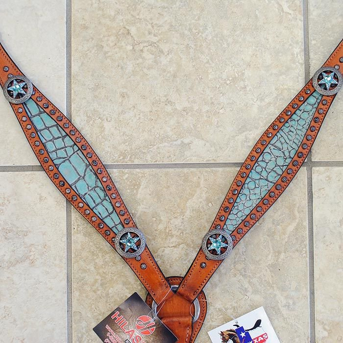 HILASON WESTERN TURQUOISE CROCODILE EMBOSSED LEATHER INLAY HORSE BREAST COLLAR