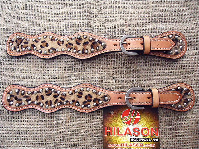 PS113F- HILASON WESTERN LEATHER SPUR STRAPS LEOPARD CHEETAH HAIR ON LEATHER