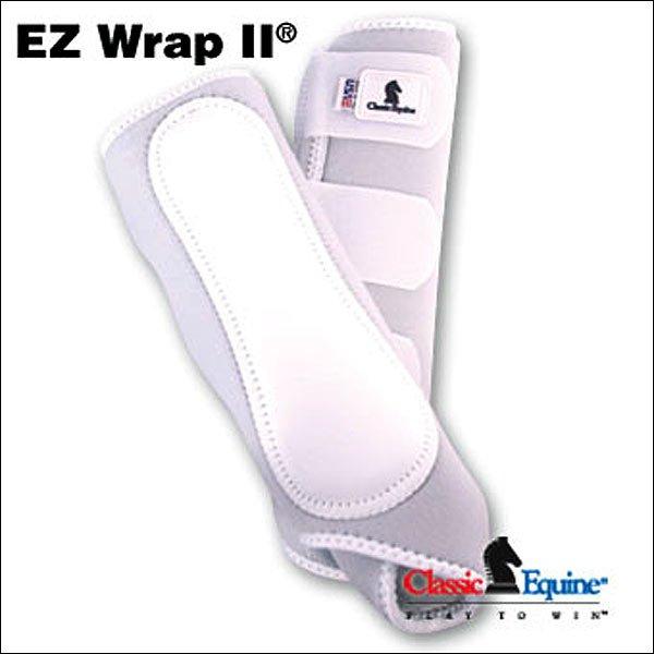 WHITE CLASSIC EQUINE EZ Wrap II Front LEG BOOTS VELCRO W/ LEATHER GUARD