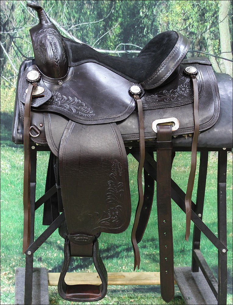 TO107DB-F HILASON TREELESS WESTERN LEATHER TRAIL PLEASURE HORSE RIDING SADDLE 16
