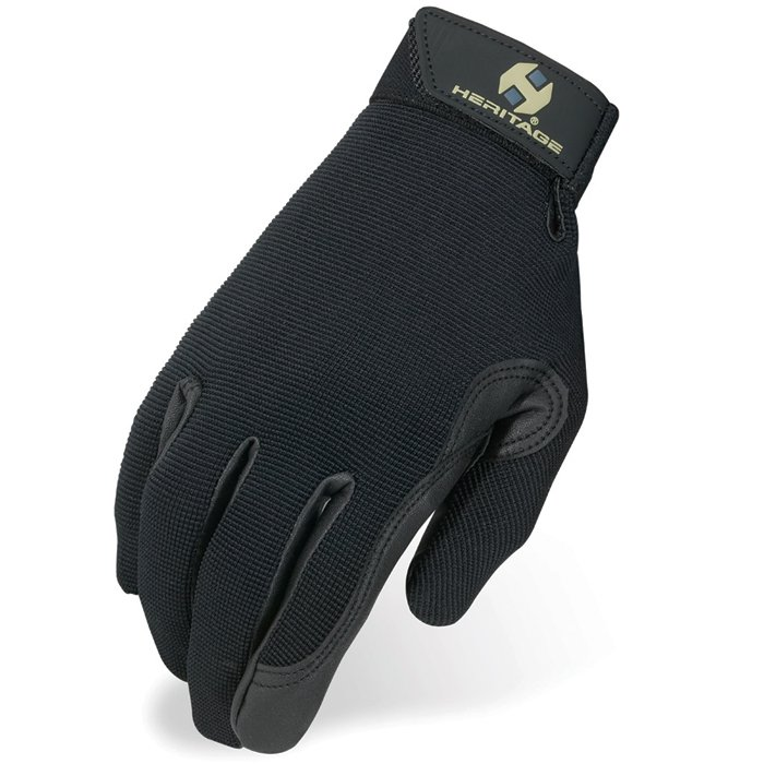 4 SIZE HERITAGE PERFORMANCE RIDING GLOVES HORSE EQUESTRIAN - BLACK