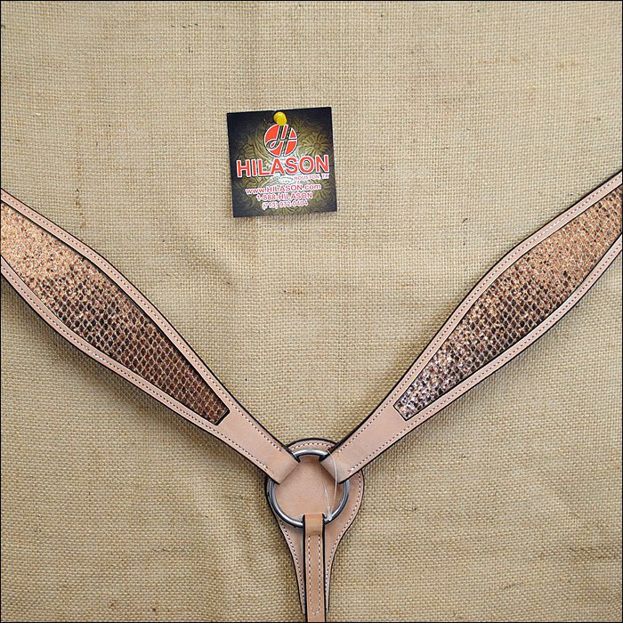 HILASON WESTERN LEATHER HORSE BREAST COLLAR TAN GOLD INLAY