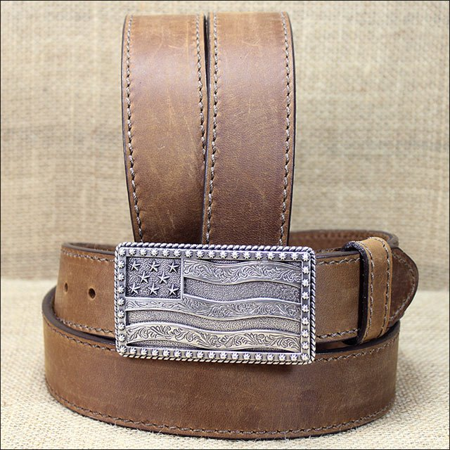 "42"" JUSTIN BROWN FLYING HIGH WESTERN LEATHER BELT W/ FLAG BUCKLE MADE IN THE USA"