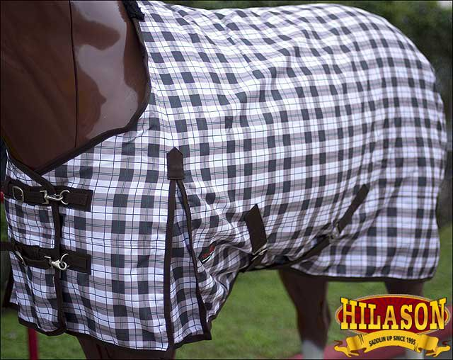 "74"" GREEN PLAID HILASON 1200D WINTER WATERPROOF POLY TURNOUT HORSE BLANKET"