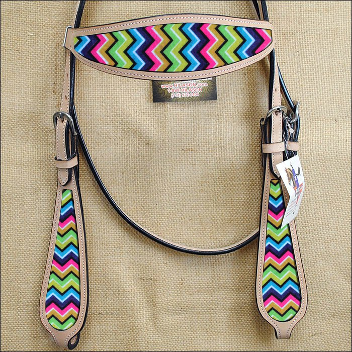 HILASON WESTERN LEATHER HORSE HEADSTALL BRIDLE TAN AZTEC INLAY