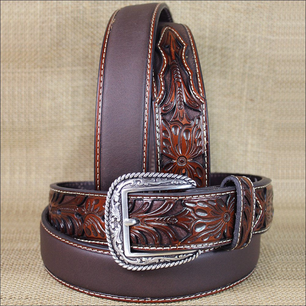 34 INCH WESTERN ARIAT SILVER BUCKLE LEATHER MENS BELT TOOLED FLORAL TAN