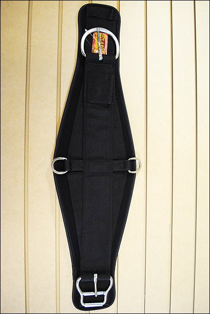 34 in. HILASON SHARKSKIN NEOPRENE CINCH ROPER WITH STAINLESS STEEL BLACK