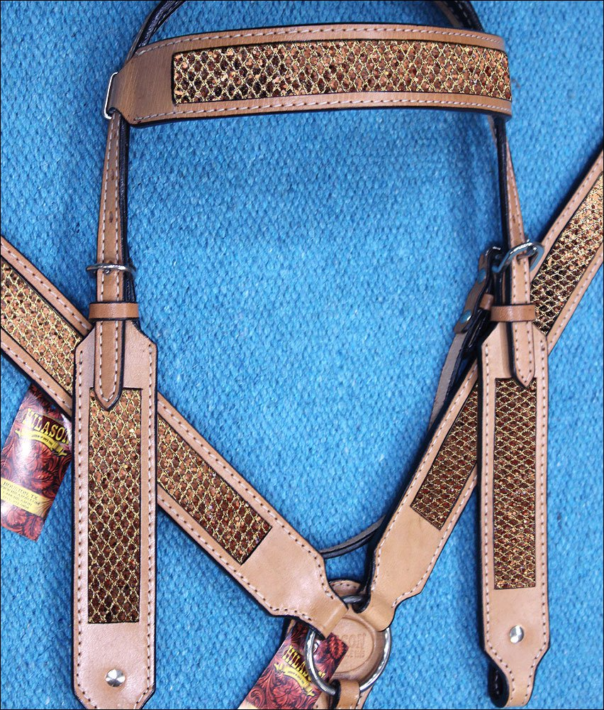 HILASON WESTERN LEATHER HORSE BRIDLE HEADSTALL BREAST COLLAR TAN W/ GOLD INLAY