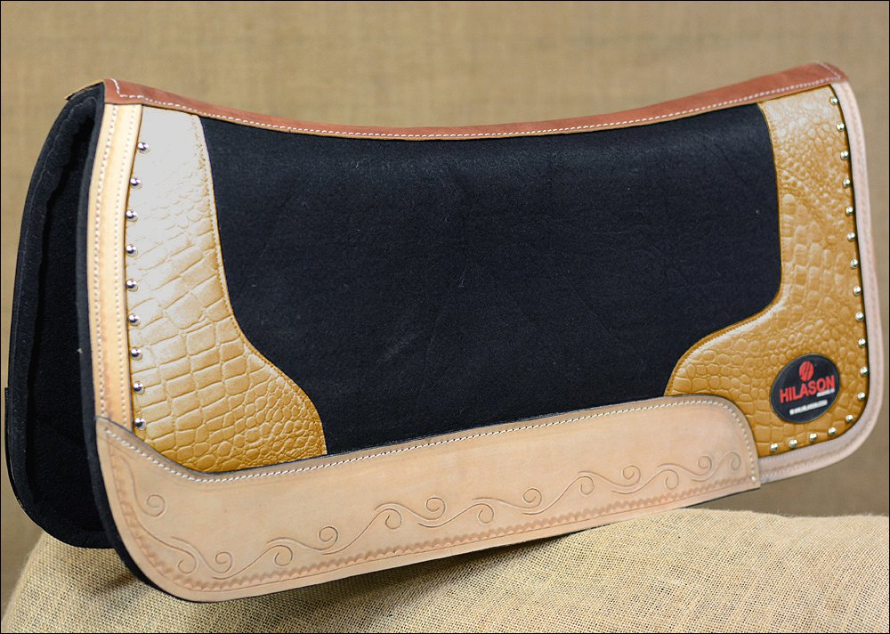 FP835-F HILASON WESTERN WOOL FELT SADDLE PAD W/ GOLD ALLIGATOR PRINT LEATHER