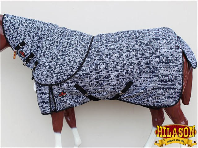 "68"" HILASON 1200D WATERPROOF TURNOUT HORSE BLANKET NECK COVER BLACK WHITE"