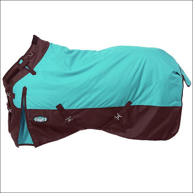 69in TURQUOISE TOUGH-1 1200D WATERPROOF POLY TURNOUT BLANKET ADJUST SNUGGIT NECK