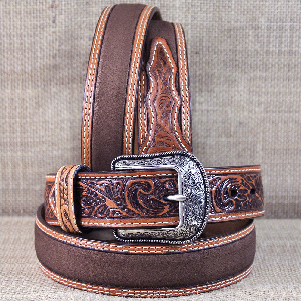 """44X1 1/2"""" 3D NATURAL MENS WESTERN FASHION HAND TOOLED LEATHER BELT SILVER BUCKLE"""