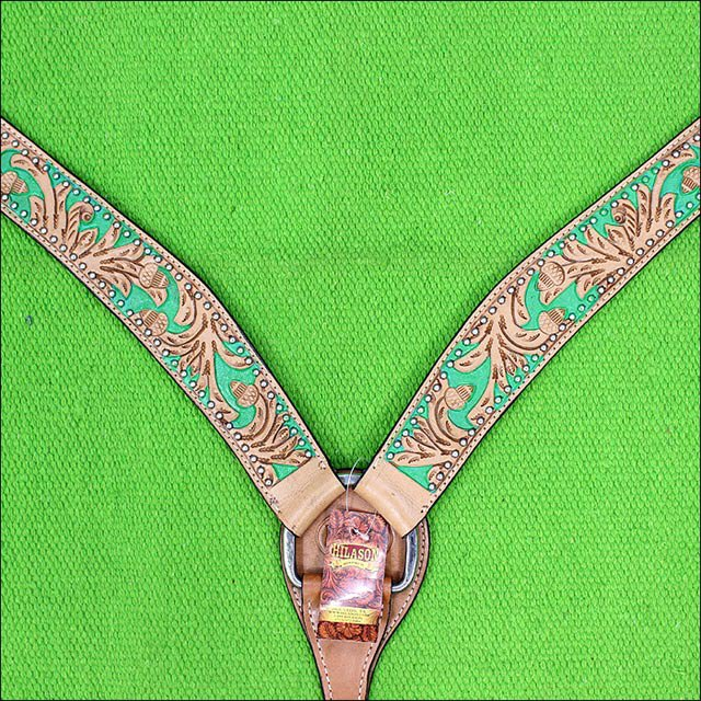 HILASON WESTERN LEATHER HORSE BREAST COLLAR TAN GREEN HAND PAINT