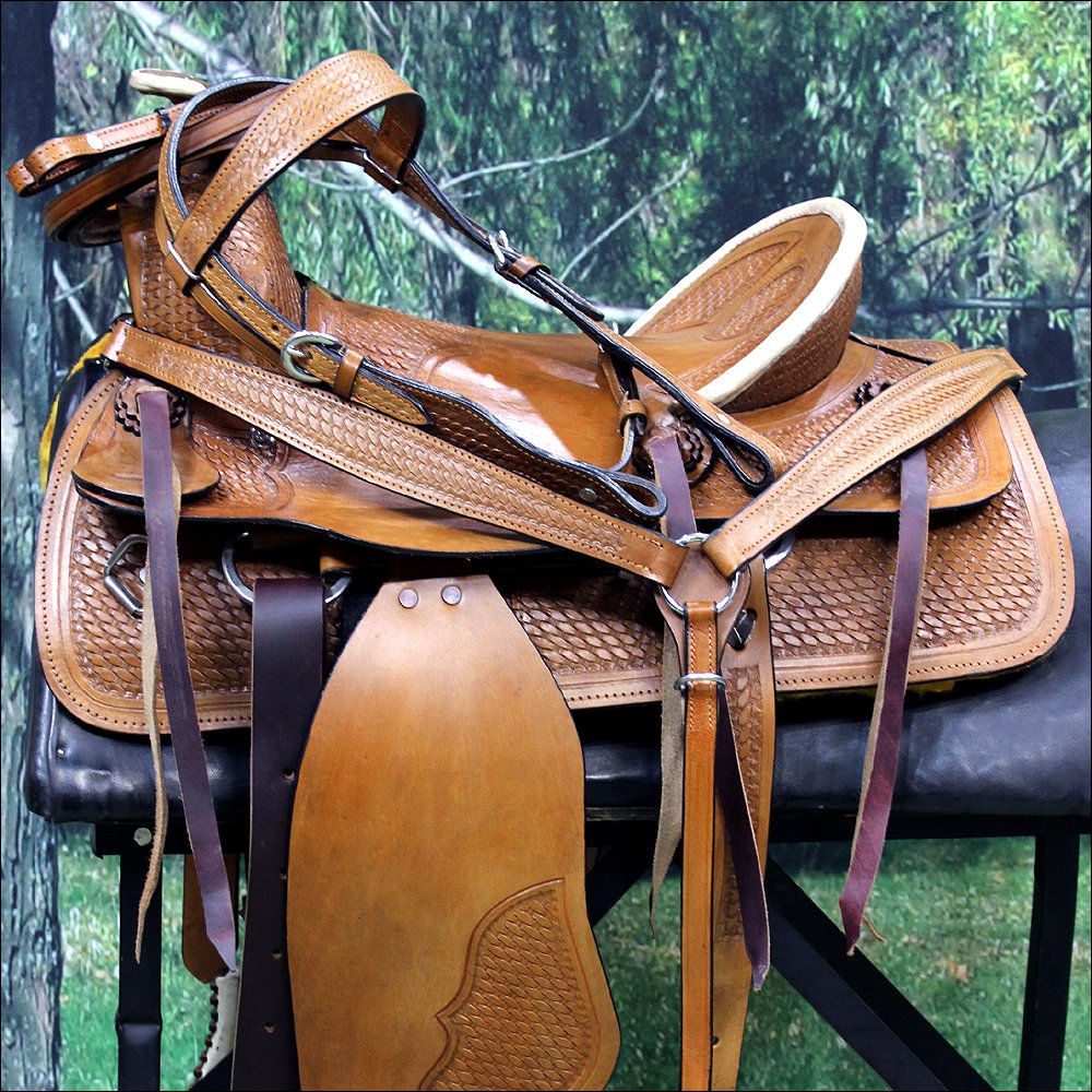 WESTERN LEATHER YOUTH CHILD BARREL RACING TRAIL SADDLE W/ BRIDLE COLLAR SET 14""